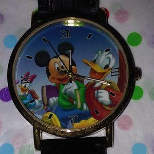 MICKEY MOUSE & DONALD DUCK BLK LEATHER STRAP WATCH